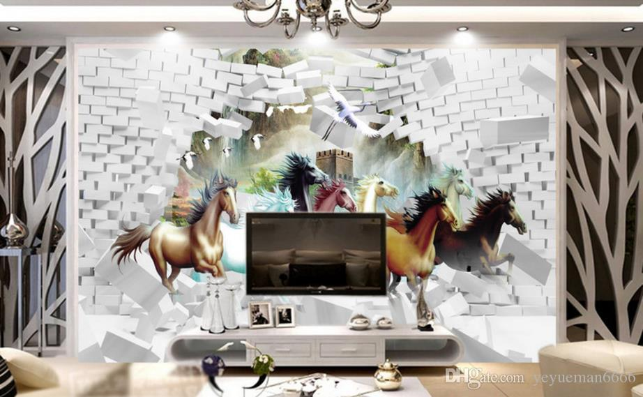 3d Photo Wallpaper Break The Wall Horse Wall Papers Home Decor