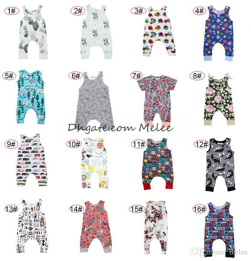 6f54d851ff06 INS Baby Dinosaur Print Rompers Multi Designs Boy Girls Cactus ...