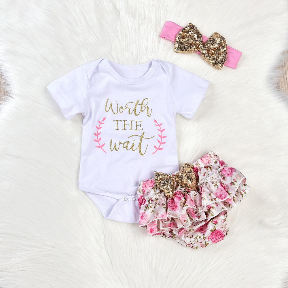 f86e19287a66 2019 Set Lovely Newborn Baby Girl Clothes Short Sleeve Letter Print ...