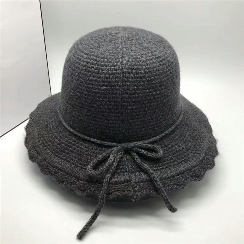 New Famous Brand Lady Cloches Top Hat Luxury Designer Solid Color Wintet  Cap Best Quality Wool Warm Hats Retro Knitted Bowknot Elegant Cap Luxury Hat  Brand ... 55a34aecc0c