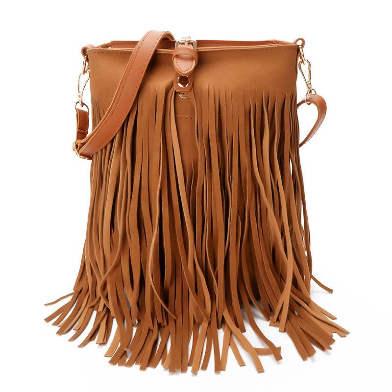 2018 New Women Leather handbag Long Fringe Tassel Plain Brown Gothic Rock Music Festival Suede Shoulder Bags Free Shipping