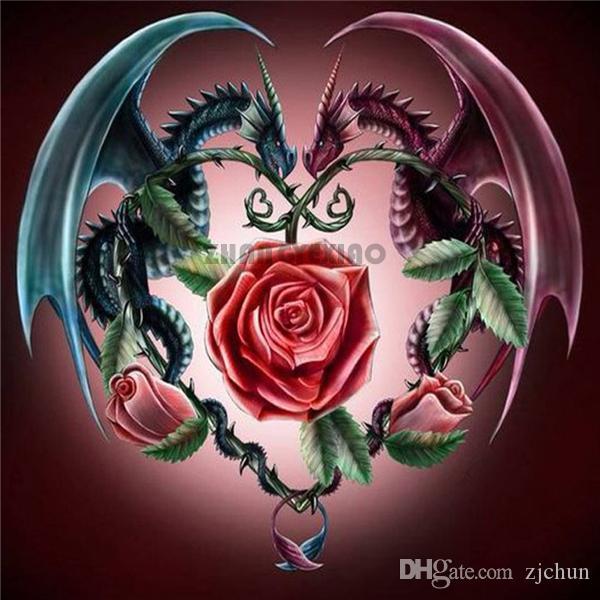 Diy diamant malerei kreuzstich kit strass mosaik dekoration geschenk tier drachen blume rose voll runde diamant stickerei yx3240
