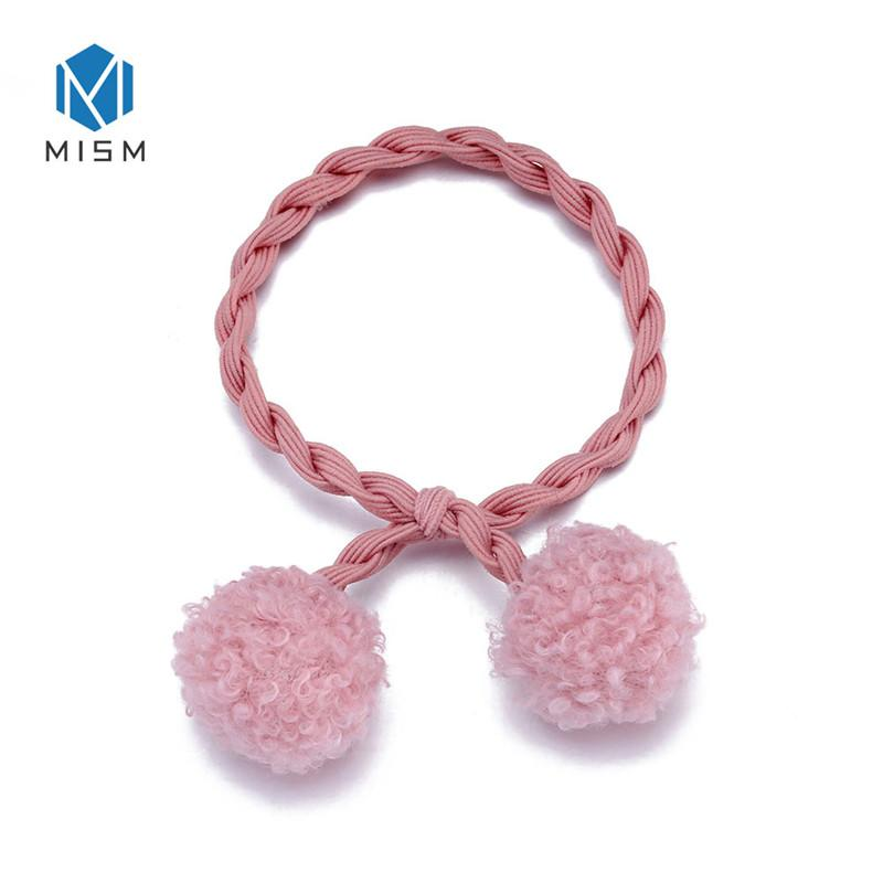 Twist Rubber Bands For Hair Mulit Color Pompom Balls Hair Ties Girls   Ponytail Holder Kids Elastic Bands For Women Fashion Wedding Hair Jewelry  Headband ... 260b8442476
