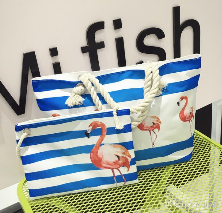 Women Beach Canvas Bag Set Fashion Casual Shoulder Bags Printing Shopping Handbags Ladies Party Large tote handbag