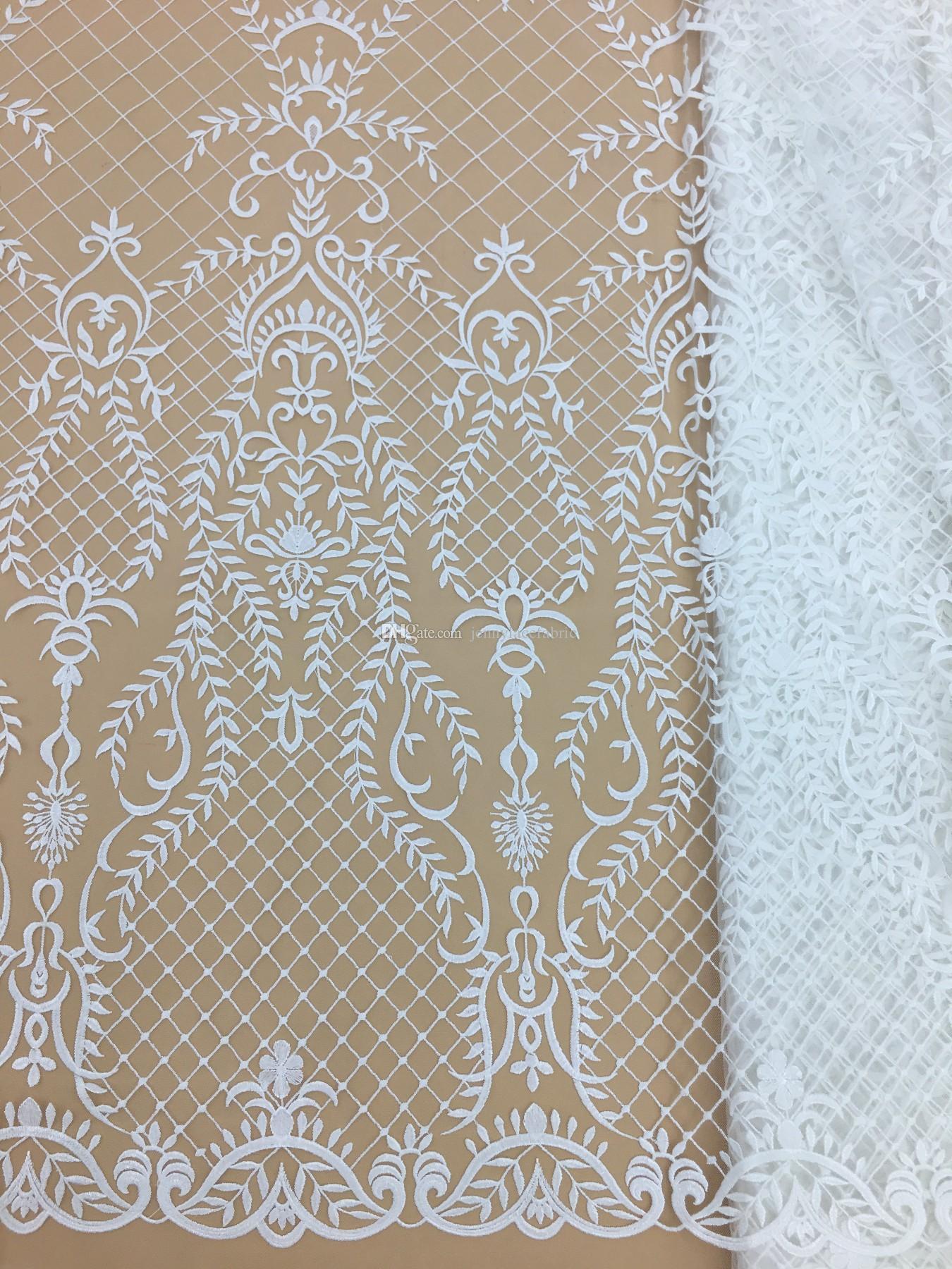 569e31547542f Beautiful Flower Embroidery Lace Fabric