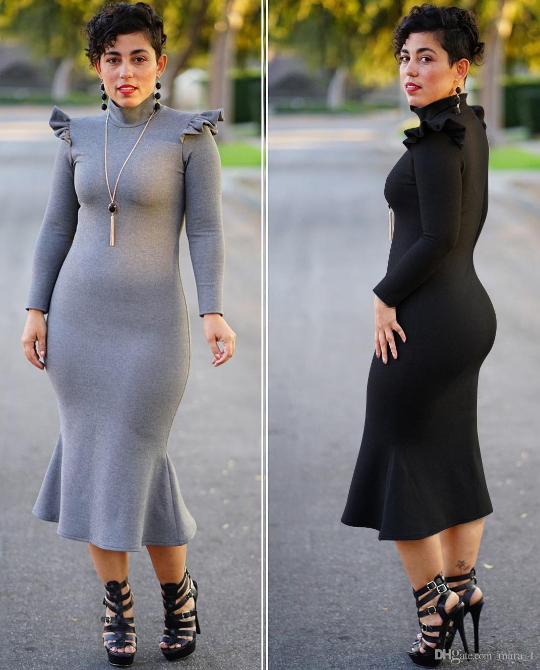 a031b192c9 Women Mermaid Midi Dress Long Sleeve Designer Trumpet Skirts Stand Collar  Ruffle Dresses Breif Casual Dress Fall Clothes Plus Size M 3XL Pageant  Dress Dress ...