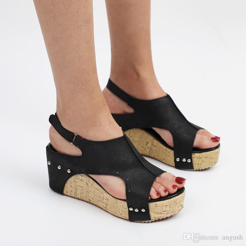 Taille De Grande Angush Marron Bouche Poisson Noir Talons Compensées Sandales À Couleurs Femmes Chaussures Hauts Acheter Kaki Mode SzpMUV