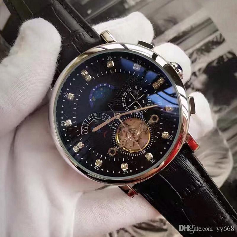 A-montres haut cadran de diamant date de jour mécanique TOURBILLON montres de luxe de marque hommes de montres-bracelets automatiques pour le cadeau mens de qualité
