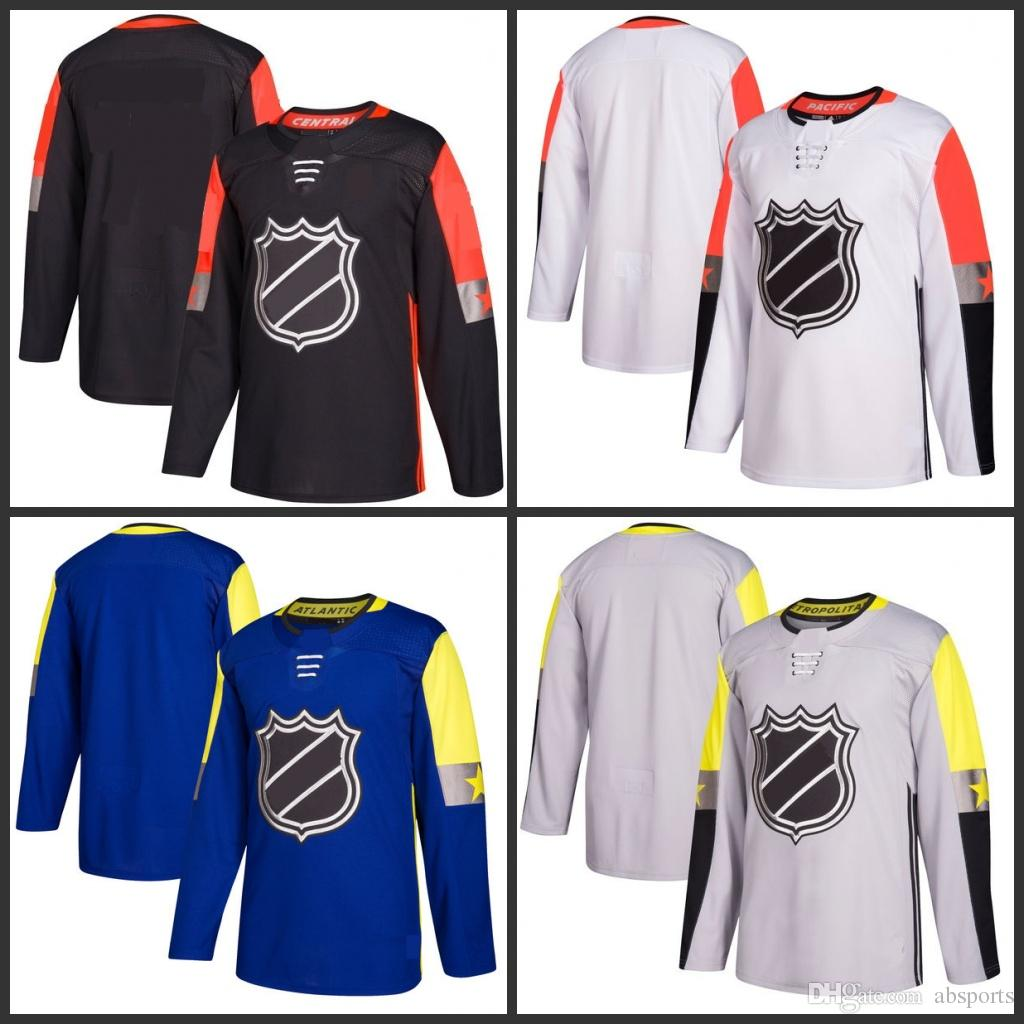 2019 Custom 2018 NHL All Star Game Black Grey White Blue Ice Hockey Jerseys  Any Name Any Number Size M XXXL From Absports 2567f5d7932