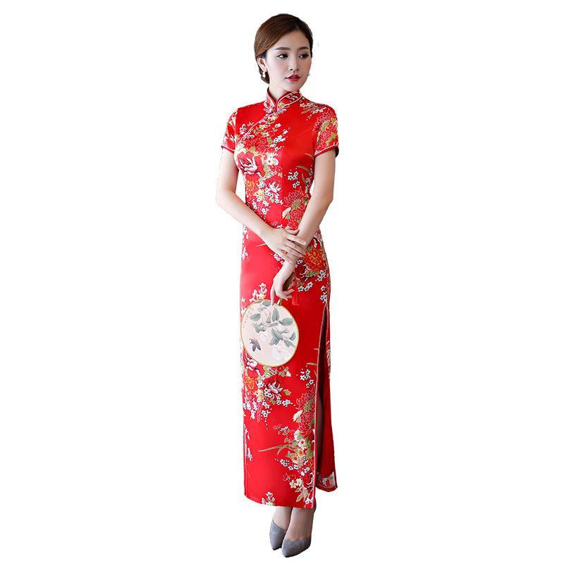 bdab881b1a9 2019 Plus Size 4XL Print Flower Cheongsam NEW Women Chinese Vintage  Mandarin Collar Qipao Lady Elegant Short Sleeve Long Vestidos From  Clothfirst