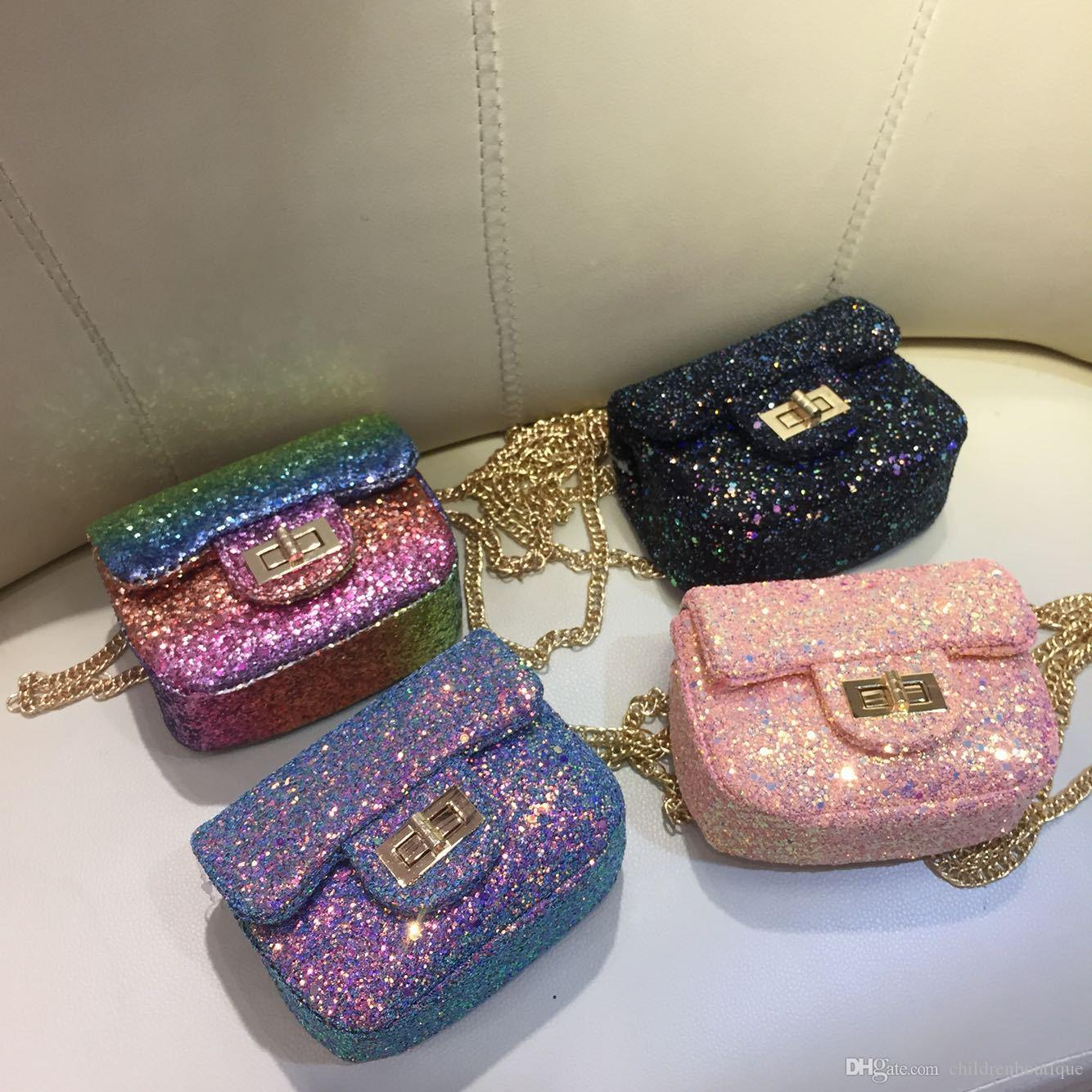 New Korea Style Purses Fashion Handbag Kids Children Princess Party Crossbody  Bag With Sequin PU Leather Metal Chain For Baby Girls Hand Bags For Teens  ... 4a72e3ea2aedd