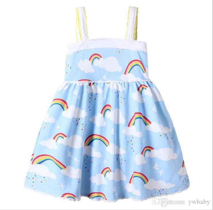 a12866de3a2bf Baby Girl Clothes Girls Rainbow Dresses Kids Girls Princess Lace Dress  Babies Sleeveless Singlet Dress 2018 Kids Summer Clothing
