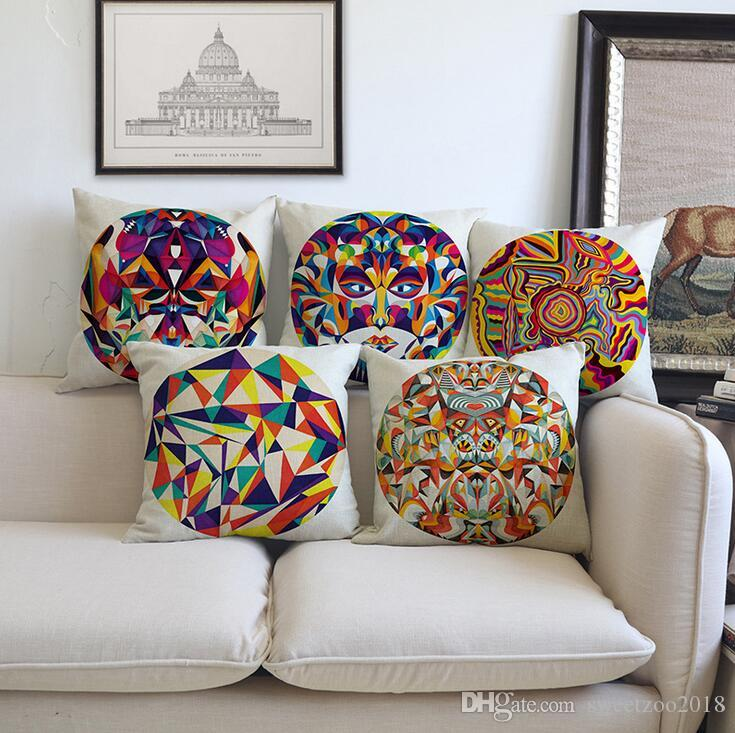 Vintage Abstract Square Throw Pillows Covers Pillowcase For Sofa Couch Car  Back Cushion 45*45cm Linen Home Decorative Cushions Case Cushions For Patio  ...