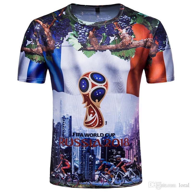 2401187d6fb Russia 2018 FIFA World Cup Football Fans Tshirts Men Short Sleeves ...