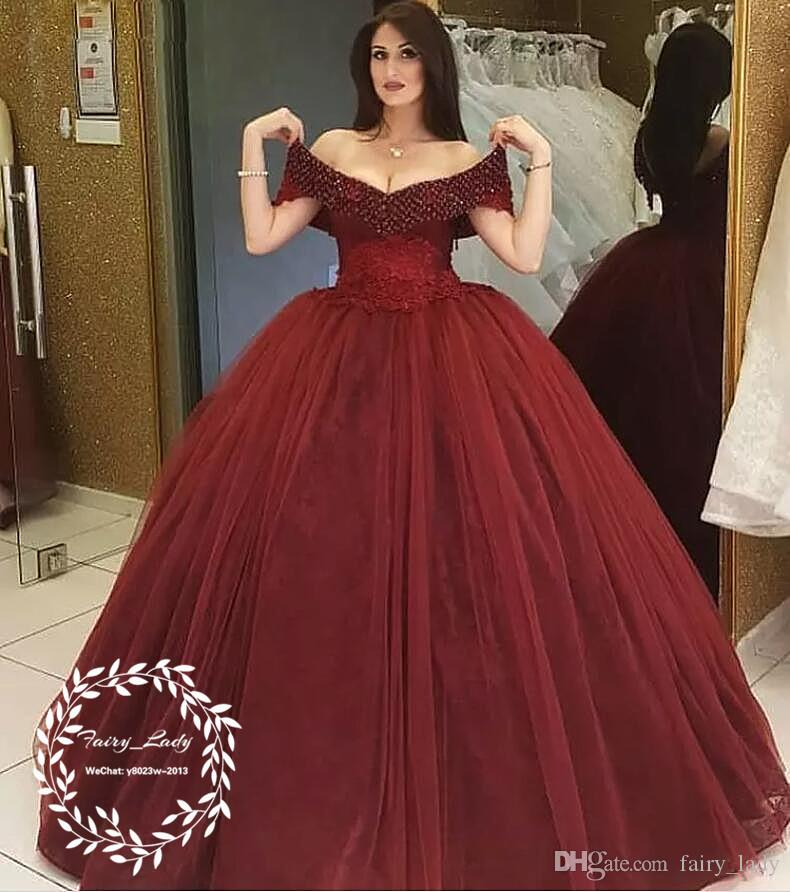 ce93398416 2019 Burgundy Tulle Quinceanera Dresses Vestidos De 15 Anos Major Beading  Rhinestone Off Shoulder Long Puffy Ball Gown Long Pageant Dress Corset  Dresses ...