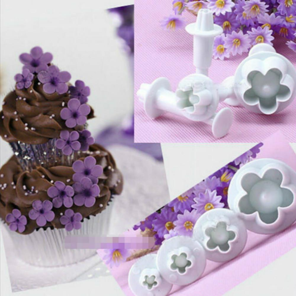 4pcs cookie cutter Plum Blossom Spring Sugar Plunger Fondant Silicone mould Bakeware pastry utensil kitchen gadgets Cake Decor