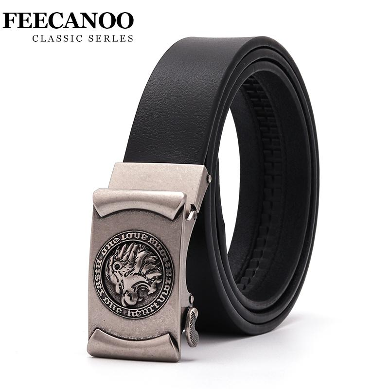 FEECANOO Brand designer mens belts luxury real leather belt for men metal buckle man Jeans pants genuine leather belt male strap