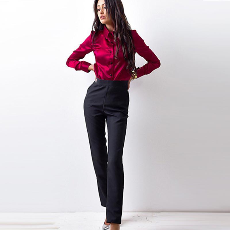 Осень Женщины высокого качества шелковые атласные блузки на пуговицах с длинным рукавом рубашки женские офисные работы элегантный женский топ blusa