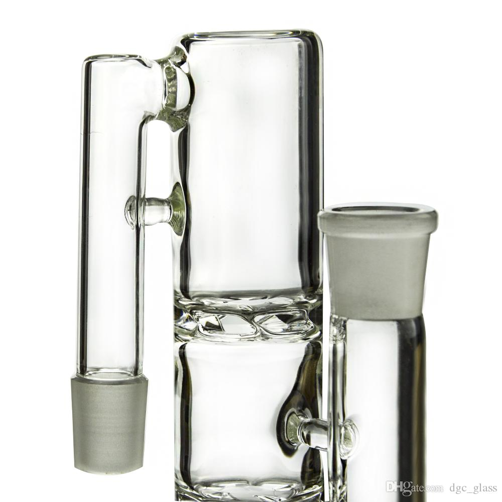 Double Turbine Disc Perc Percolator Glass Ashcatcher 90 Degree 14mm Joint Ash Catcher Smoking Accessories ASH-P802C