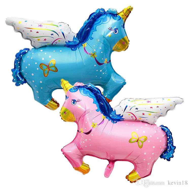 New kids toys inflatable helium Fly Horse Cartoon Unicorn Baby Foil Balloons Birthday Party Decoration Inflatable Air Toy