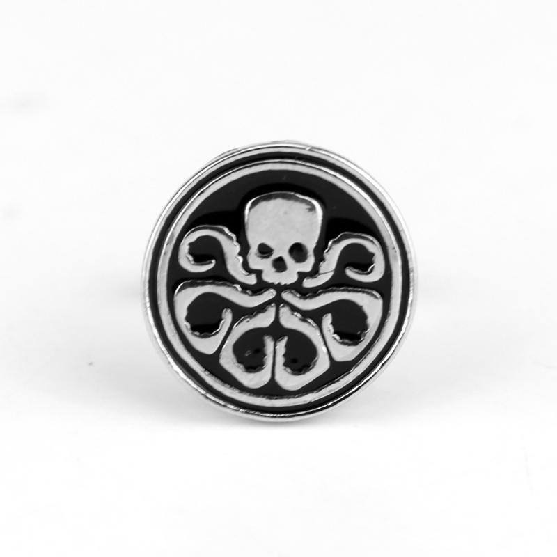 Silver Tone Black Enamel Superhero Avengers S.H.I.E.L.D. Hydra Skull Cufflinks For Mens Shirt High Quality Cuff Links
