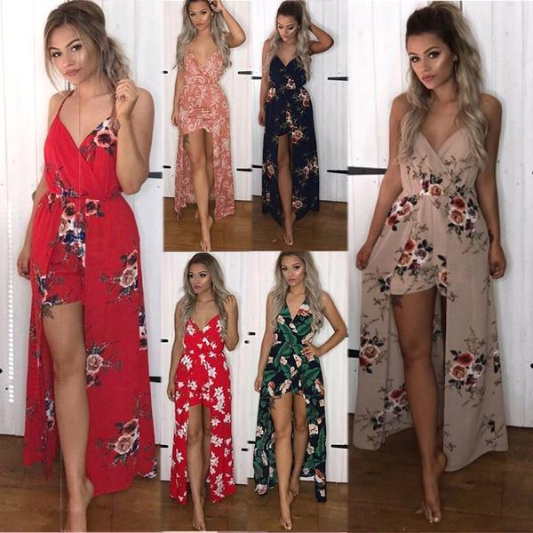 781ebeb7d85f Sexy V Neck Shorts Rompers Sleeveless Spaghetti Strap Jumpsuits For Women  Summer Chiffon Floral Print Maxi Long Dress Red Carpet Dresses Black Prom  Dresses ...