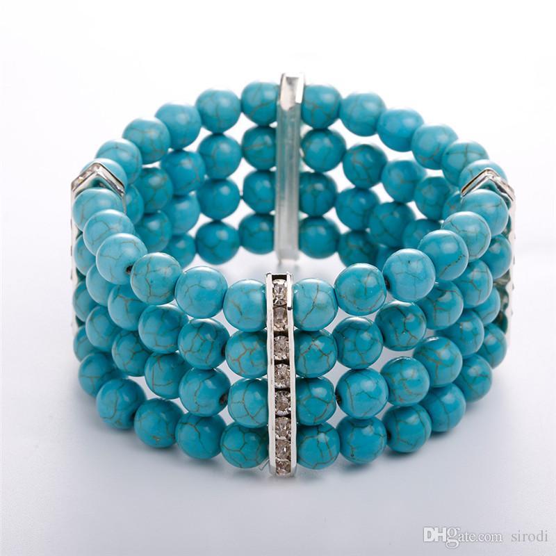 Acheter 2018 Nouveaux Bracelets De Perles Turquoise Bohème Vraie Photo  Bracelet De Perles En Pierre Naturelle Femmes Multi Couche Bracelet De  Perles Stretch