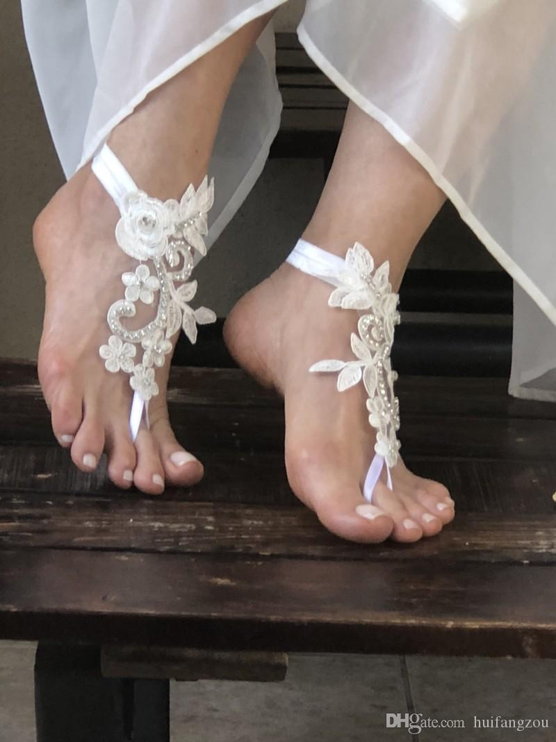 Custom Made Wedding Anklets Lace Up Beaded Applique Beach Bridal Shoes New Arrival Flatforms Sandals For Weddings