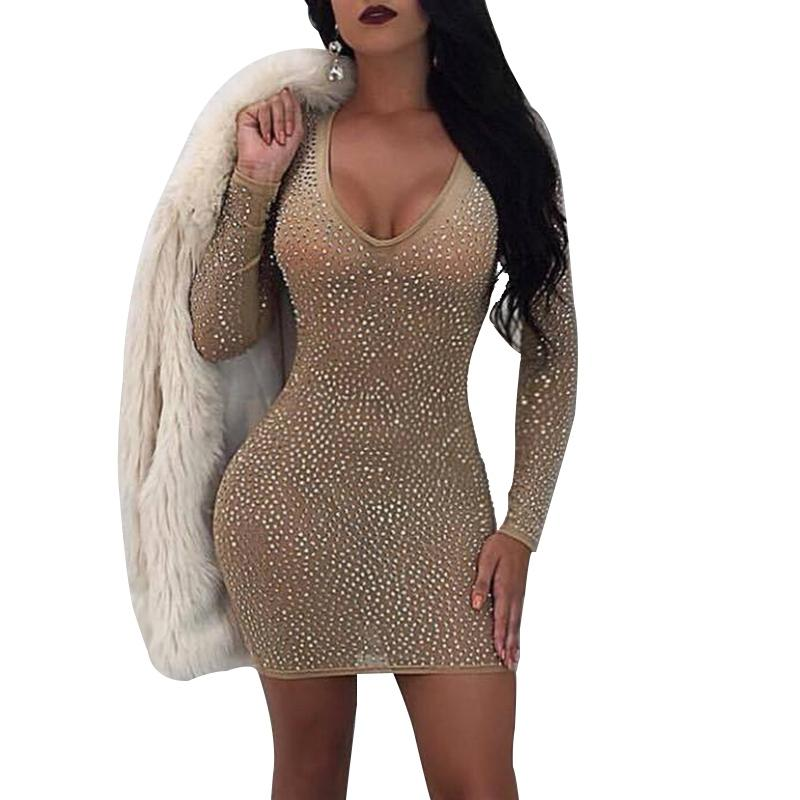 42bfb96578c2 2019 Sexy Women Short Bodycon Dress V Neck Night Out Club Mesh Dress  Rhinestone Outfits Diamonds Long Sleeve Party Dresses From Beke