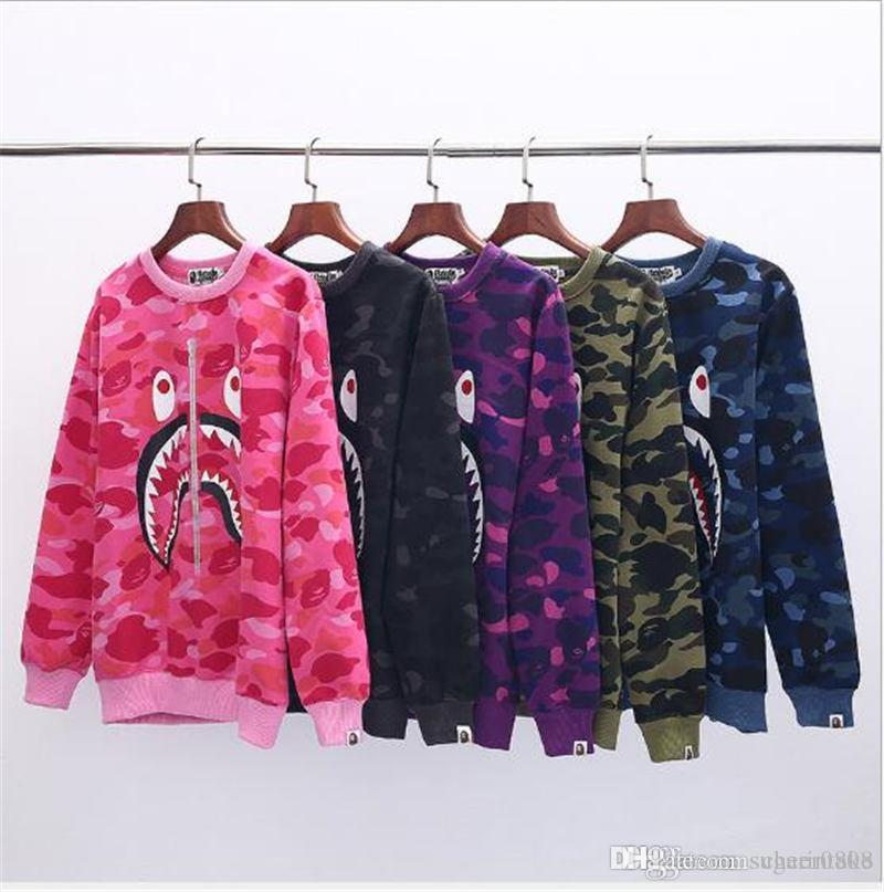 84cae85fe0de A Bathing A Ape 1BAPE Shark Head Camo Mens Round Neck Fleece Pullover  Hoodie Jacket Online with  83.84 Piece on Sugarintake s Store