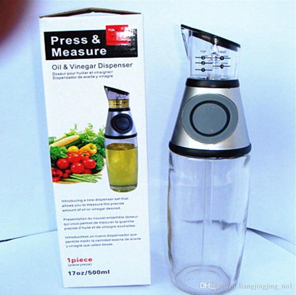 Dispensador de aceite de oliva Vinagre Ensalada Botella de aceite con la medida de la medida Medible Condimento Botella de vidrio herramientas de cocina OOA4691