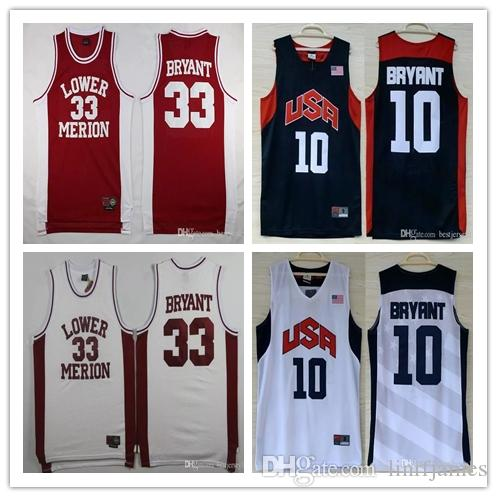 eafede3dafe6 Wholesale Men s Lower Merion High School  33 Kobe Bryant Jersey 2012 USA  Dream Team Ten  10 Kobe Bryant Stitched Basketball Jerseys
