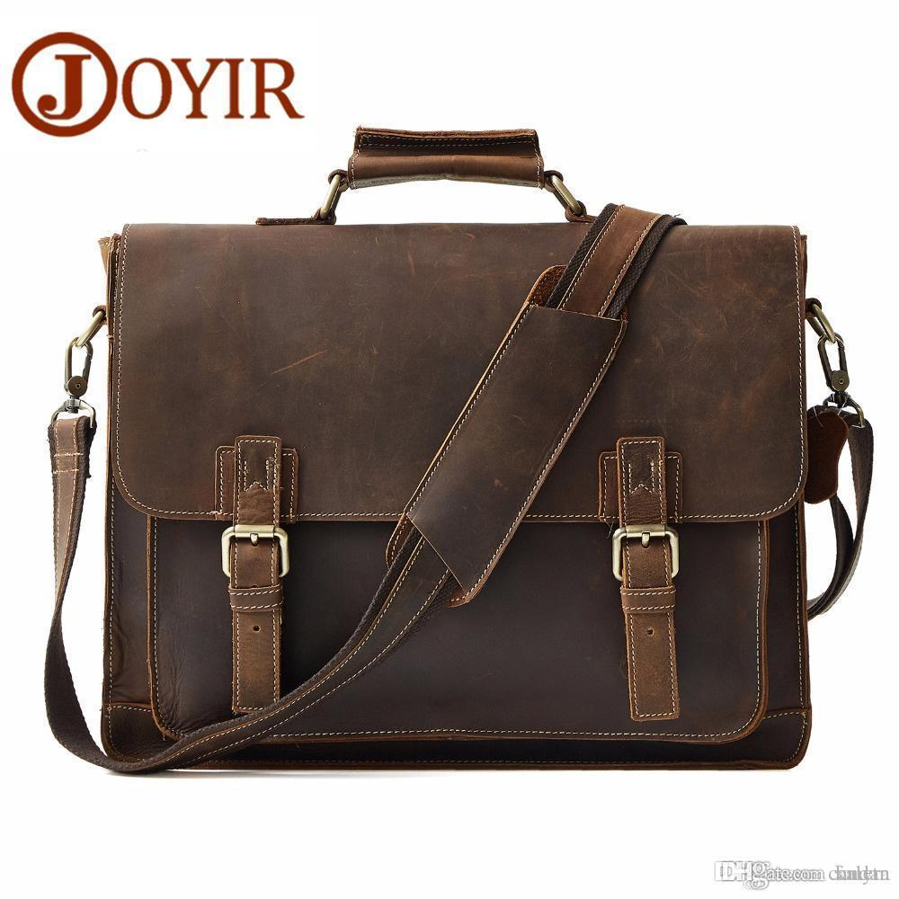 7cc5e36857 JOYIR Retro Men S Briefcase Genuine Leather Men S Business Bag Crazy Horse  Vintage Shoulder Messenger Bag Male Briefcase Mens Handbags Work Bags For  Men ...