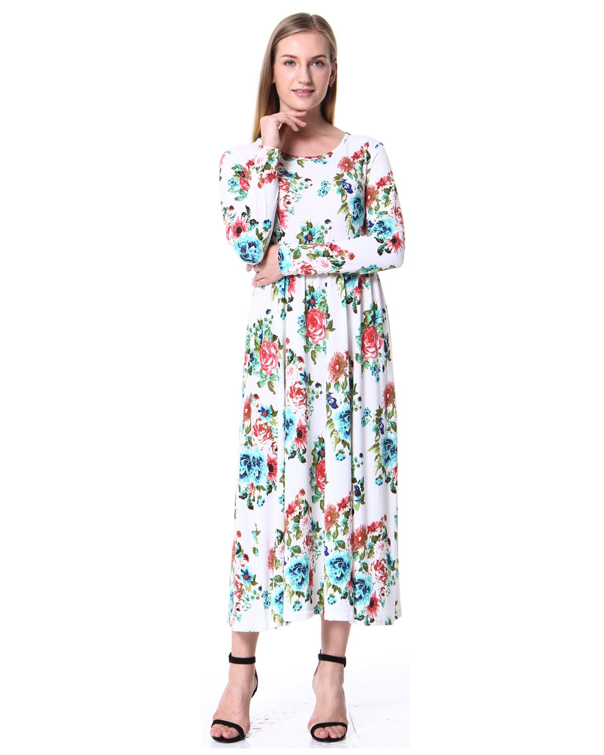 31344f0e14b Women S Spring Fashion Printed Long Dress Long Sleeve Empire Flower Mid  Calf A Line Dress 2019 Spring Summer Vintage Dress Ropa Cocktail Dress  Party Cute ...