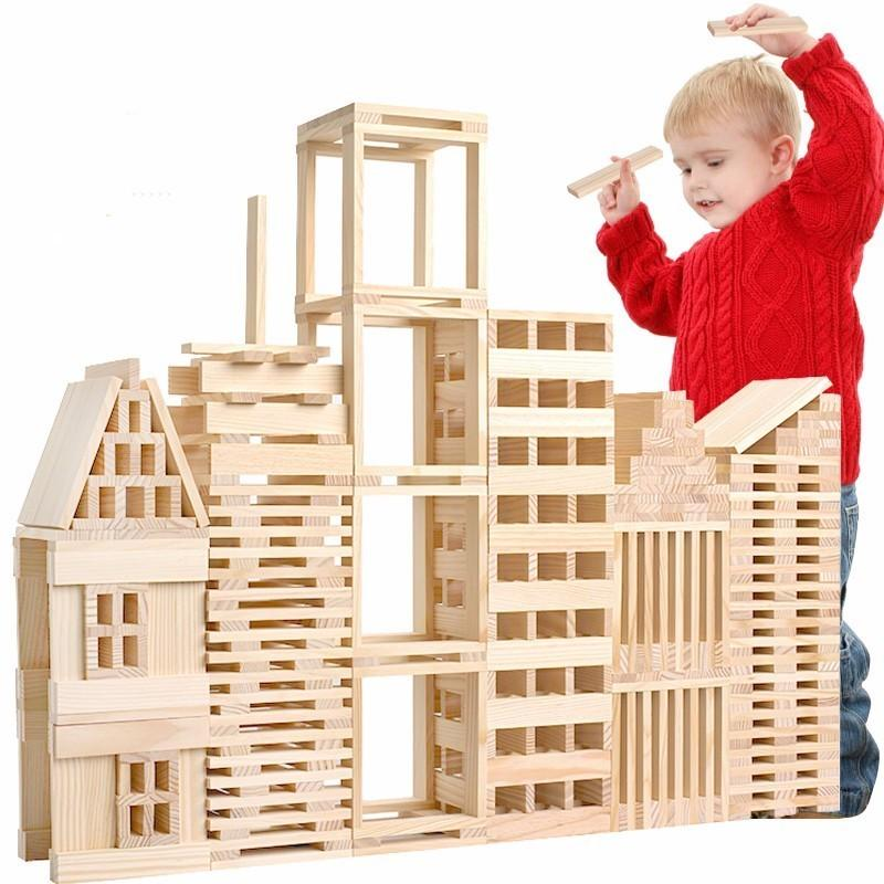 100pcs Resin Wood Wooden Building Blocks Set Oyuncak Models Classic Toys For Children Boys Early Learning Educational