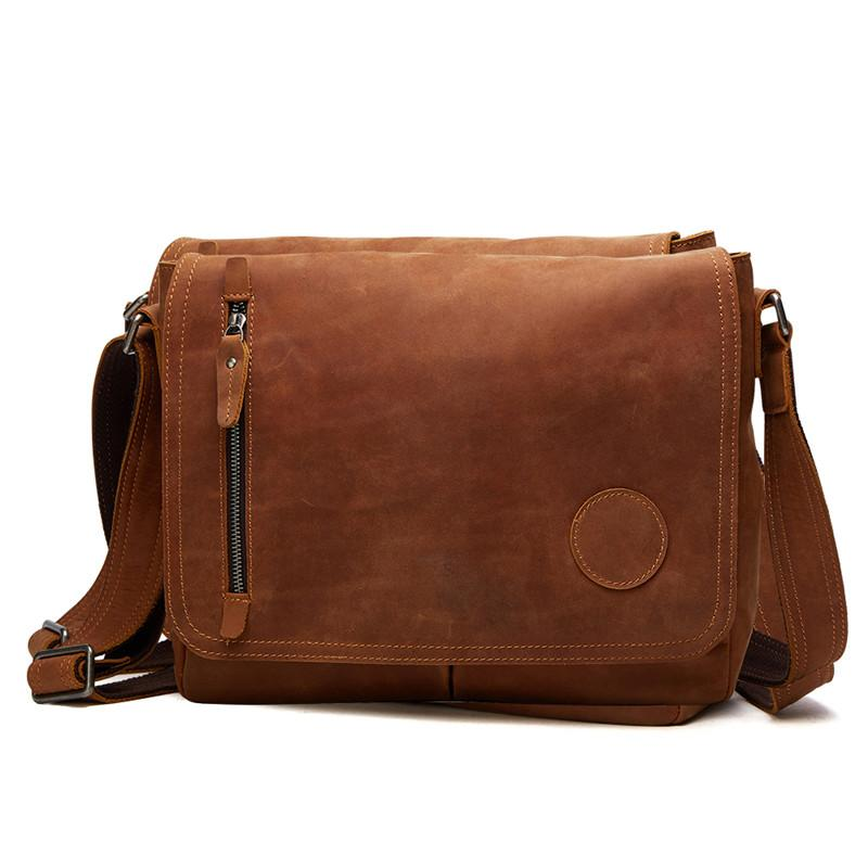 Nesitu High Quality Vintage Brown Thick Durable Cow Leather Real Skin  Genuine Crazy Horse Leather Men Messenger Bags M6391 Purses Designer  Handbags From ... b1ab7e316b172
