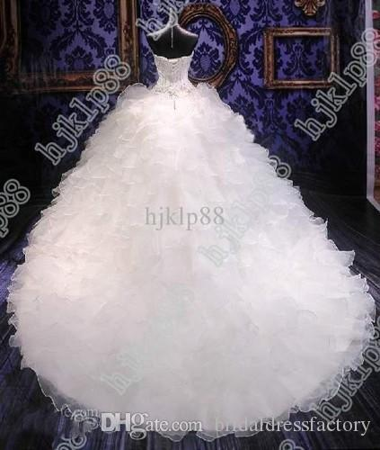 2018 cathedral sweet wedding gowns Luxury Royal Puffy Catherdarl Train beaded Wedding Dresses Bridal Gowns Organza