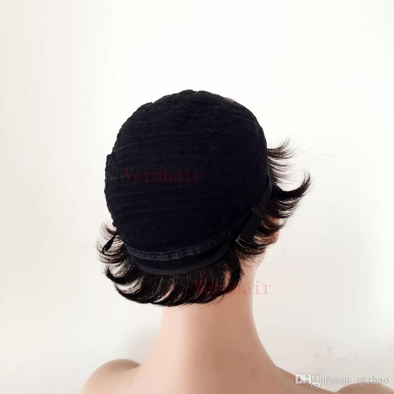 Gorące krótkie cięte peruka ludzkie włosy krótkie cięte jedwabiste peruki prostych dla czarnych kobiet z grzywką w magazynie