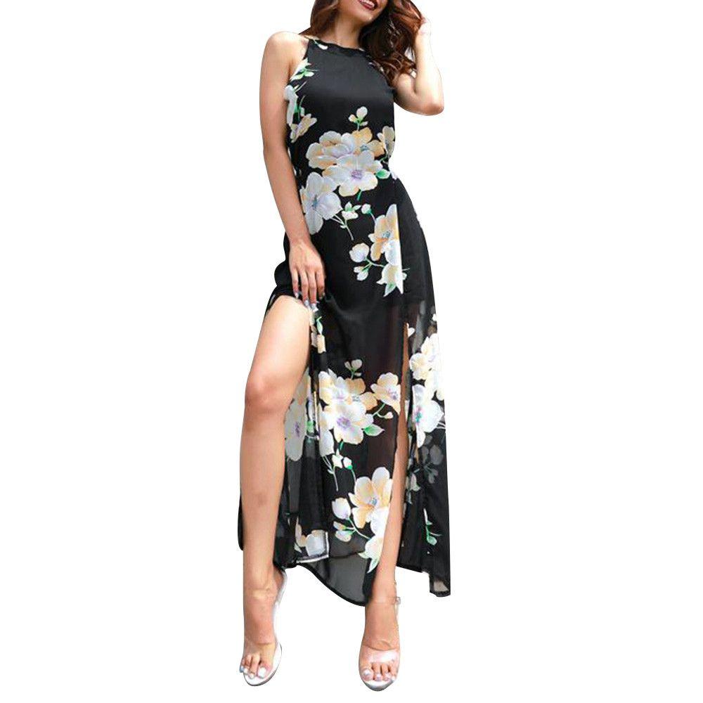5104c661282 Summer Women Long Dress 2018 Chiffon Bohemian Floral Print Sleeveless Beach  Dresses Vintage Bandage Dress Women Clothes Long Prom Dresses Long Black  Dress ...