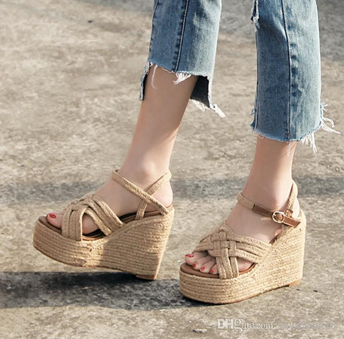 df67bc94e35a Summer Fashion Straw Woven Platform Shoes Women Designer Sandals High Heel  2018 Size 34 To 39 Wedge Shoes Womens Sandals From Myshoescity