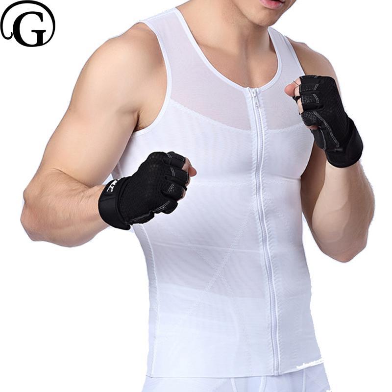 0fbdebca58862 2019 PRAYGER  Male Sexy Men Slimming Boob Shaper Seamless Zipper Control  Tummy Trimmer Waist Shapewear Back Support Shirts From Ferdinand07
