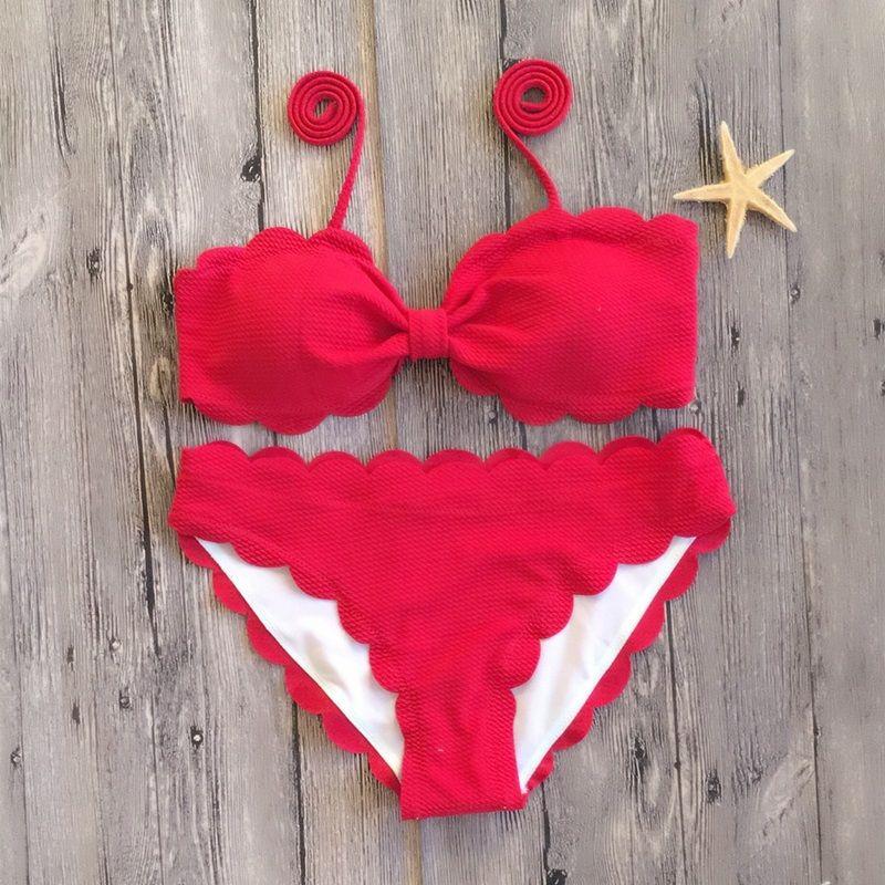2018 New Bow Bikini überbacken Solid Badeanzug Frauen Rosa Rot Schwarz Bademode Mai Beach Badeanzug Sexy Schwimmen tragen Micro Biquini