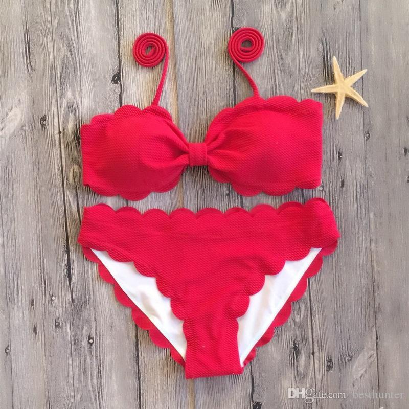 2018 New Bow Bikini smerlato costume da bagno solido donne rosa rosso nero Costumi da bagno May Beach costume da bagno sexy costumi da bagno Micro Biquini