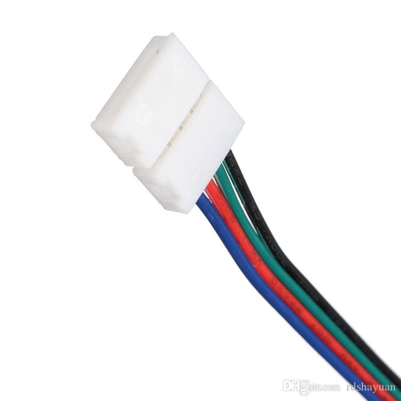 / 10MM 4pin RGB Led 스트립 No 납땜없는 커넥터 클립 케이블 Led 테이프 확장 와이어 3528/5050 RGB 스트립 빛