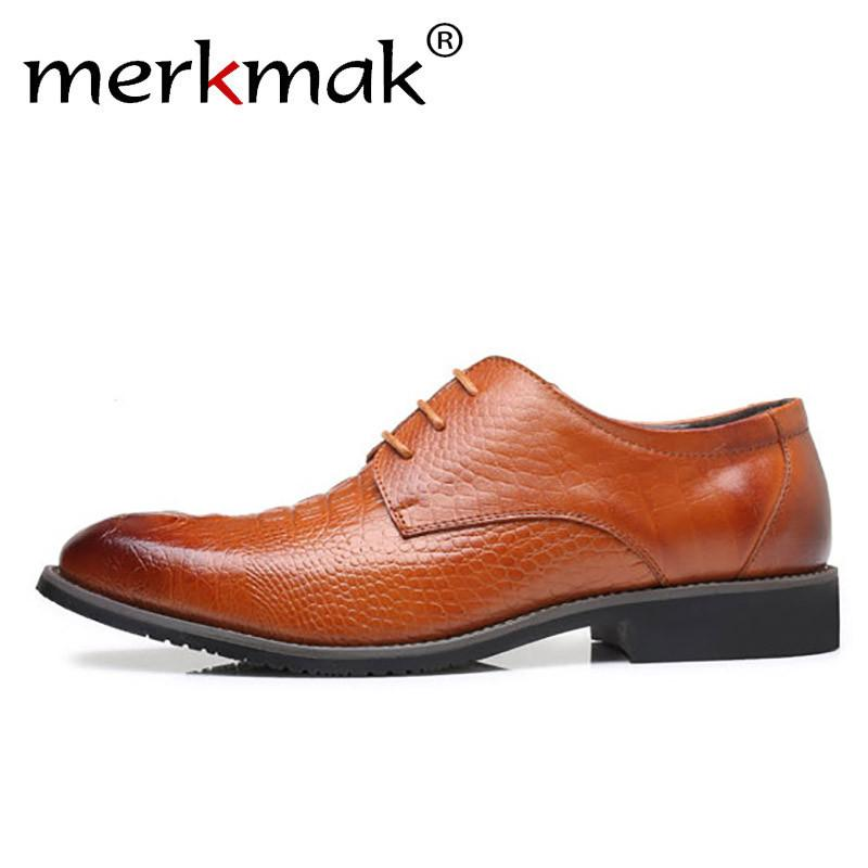 6d398fa6b7b Merkmak High Quality Men Leather Shoes Crocodile Pattern Mans Dress Shoes  Luxury Brand Male Simple Leather Flat Big Size 38 48 Penny Loafers Wedges  Shoes ...