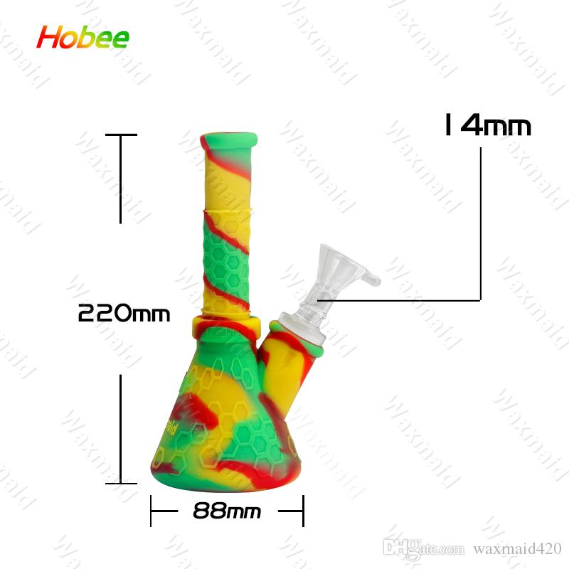 Bong Glass Water Pipe 9 pollici Beaker in silicone con 14 millimetri Joint Adapter Factory Outlet Spedizione gratuita DHL
