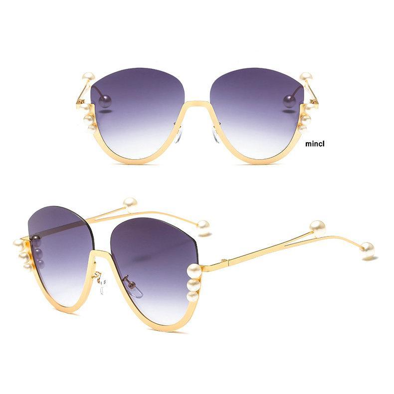 49d7d6279e16 Luxury Brand Design Pearl Diamond Sunglasses Women Rimless Summer Oversized  Eyewear Shades Vintage Clear Lens Sun Glasses NX Foster Grant Sunglasses ...