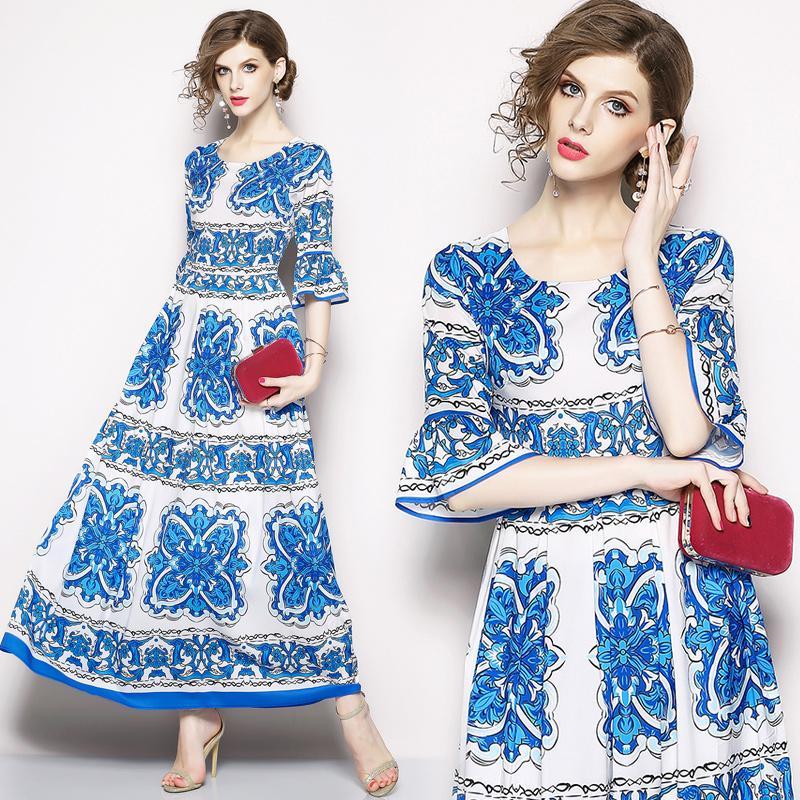 374278aa818bf Satın Al Beyaz Mavi Çiçekli Baskı Kadınlar Için Resmi Elbiseler Flare Kol  Büyük Salıncak Zarif Lady Maxi Uzun Elbise, $19.1   DHgate.Com'da