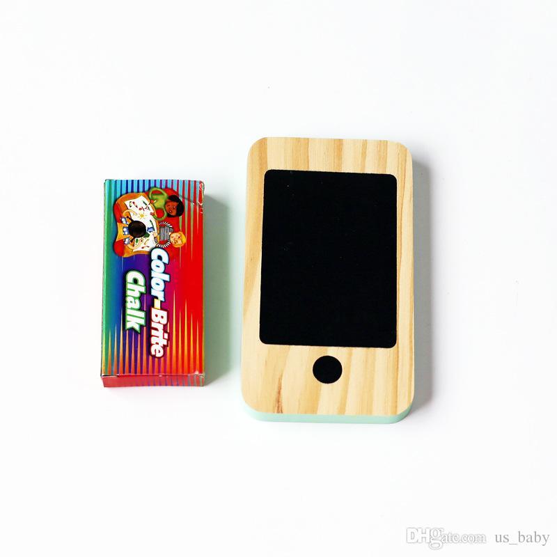 Teléfono de madera para niños Juguetes para niños del hogar nórdicos Figurines Miniaturas temprana Mensaje regalos Junta del teléfono móvil de la pizarra