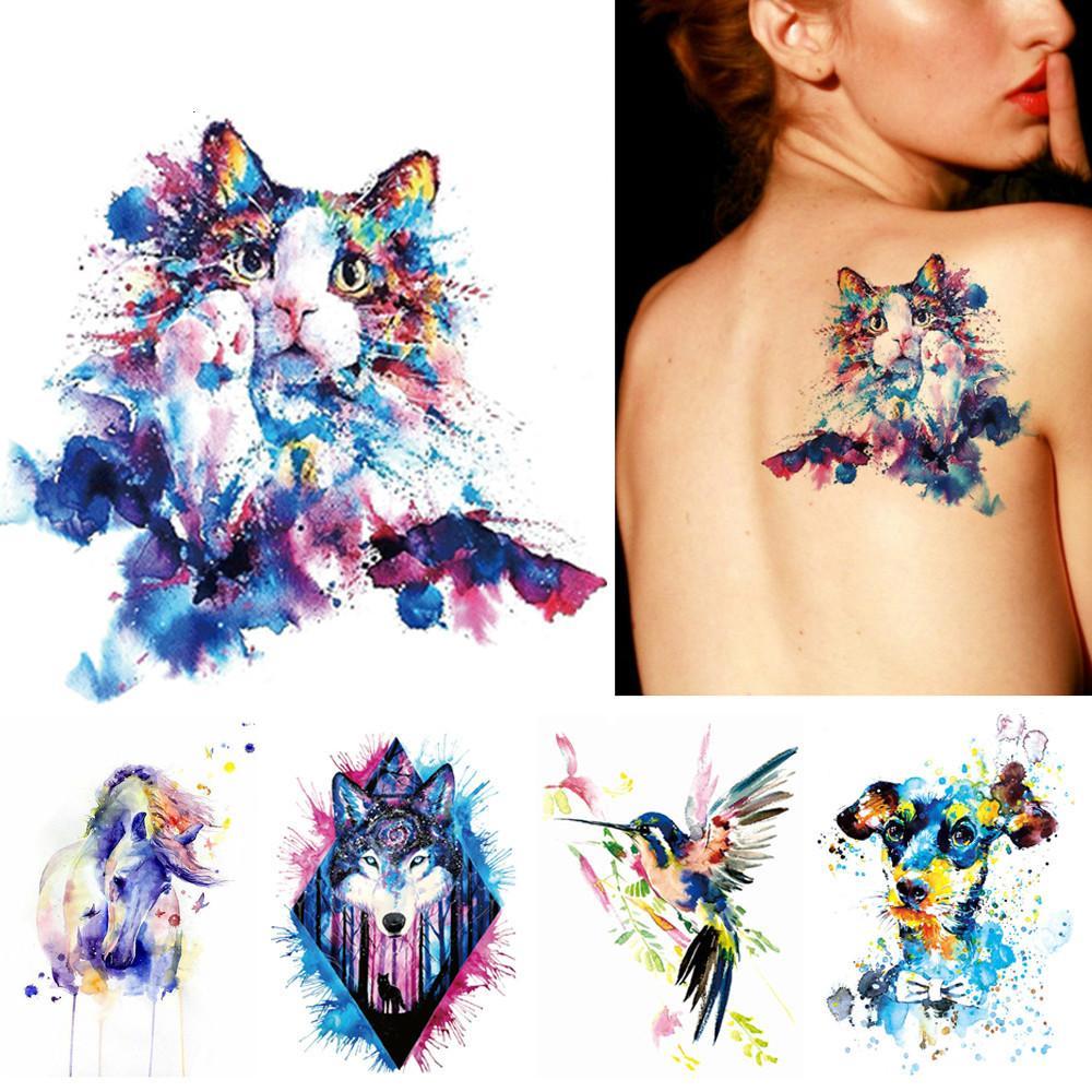 Acheter 1x Diy Body Art Temporaire Tatouage Colore Animaux Aquarelle